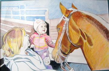 Woman holding small child petting a brown horse.