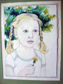 Little girl with braids holding a yellow flower.