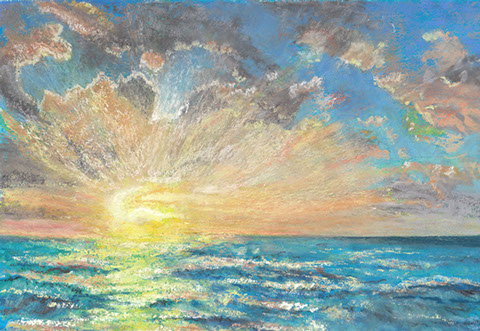 Seascape of the sun rising.
