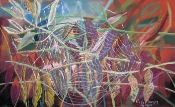 Abstract of a spiderweb on multicolored background.