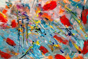 Abstract painting in blue, red, yellow, and orange