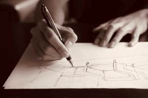 Artist Drawing by Hand
