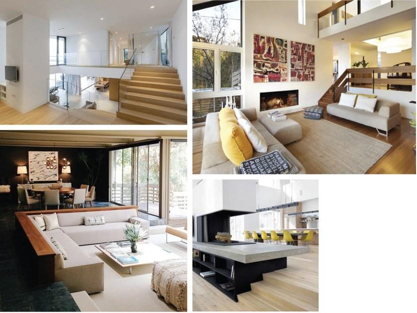 image collage of modern split level living rooms