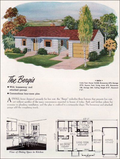 1952 National Plan Service - the Bergis - a two bedroom ranch with attach garage: plan and rendering