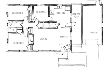 floor plan of the house before the breezeway to mudroom conversion