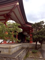 japanese red temple architecture exterior
