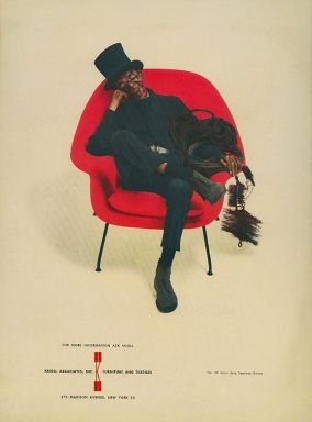knoll midcentury red womb chair