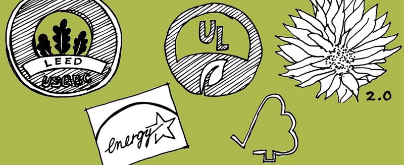 sketch of green building labels: LEED, Energy Star, UL, FSC and Living Building Challenge