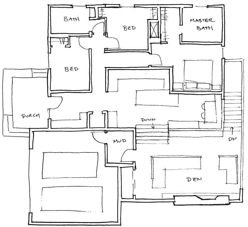 floorplan of a mid-century ranch remodel