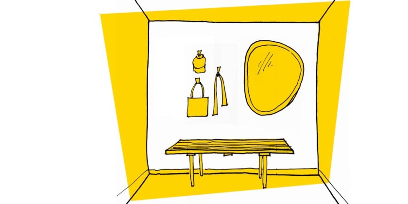 Sketch of MCM style mudroom wall with mirror, bench and hooks.  Having the right entry storage helps to fight clutter!