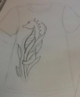 Seahorse in seagrass design