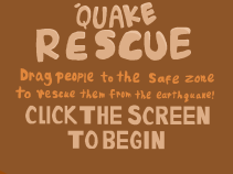 "My title screen for ""'Quake Rescue"", hand lettered using Manga Studio and a Wacom tablet for Global Game Jam (Jan 2017)."