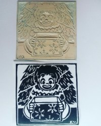 My linocut and a test print of my Christmas design (Nov 2016).