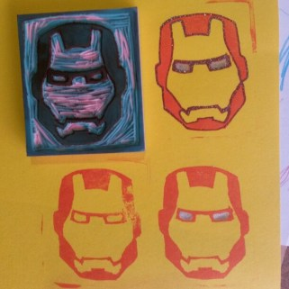 A rubber stamp I designed and cut, inspired by Iron Man (Jan 2017).
