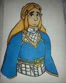 """Zelda', fanart inspired character design in Promarkers and Pentel brush pen (Feb 2017)."