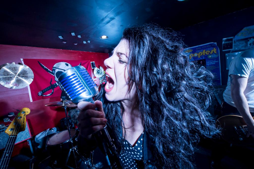 Midnight Mob  frontwoman Blackey during a rehearsal session in their basement studio in Syosset, Monday Dec. 7, 2015.