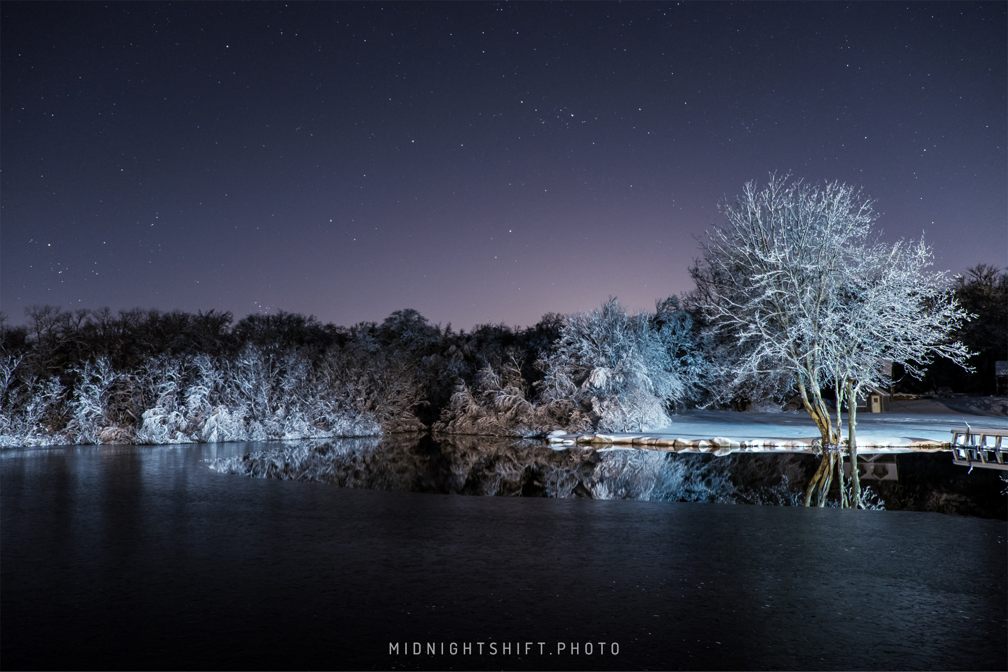 Snowy Night in Adamsville, Rhode Island