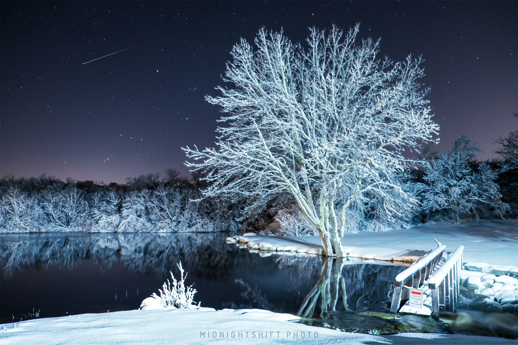 Frozen Night in Adamsville, Rhode Island.