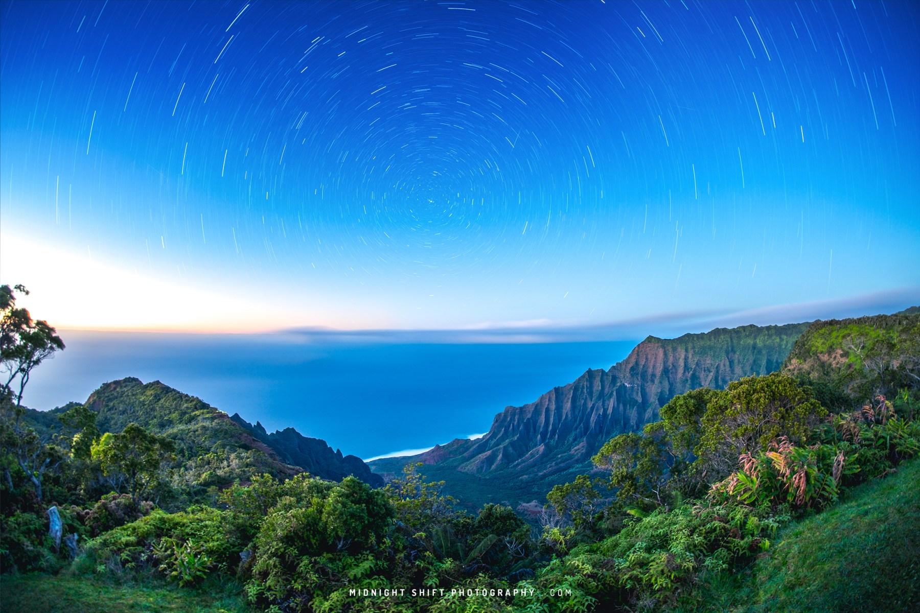 Star Trails over Kalalau Lookout on the island of Kauai, Hawaii.