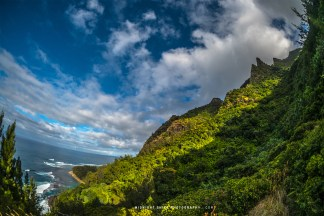 Views of the Na Pali Coast and Ke'e Beach on the island of Kauai, in Hawaii