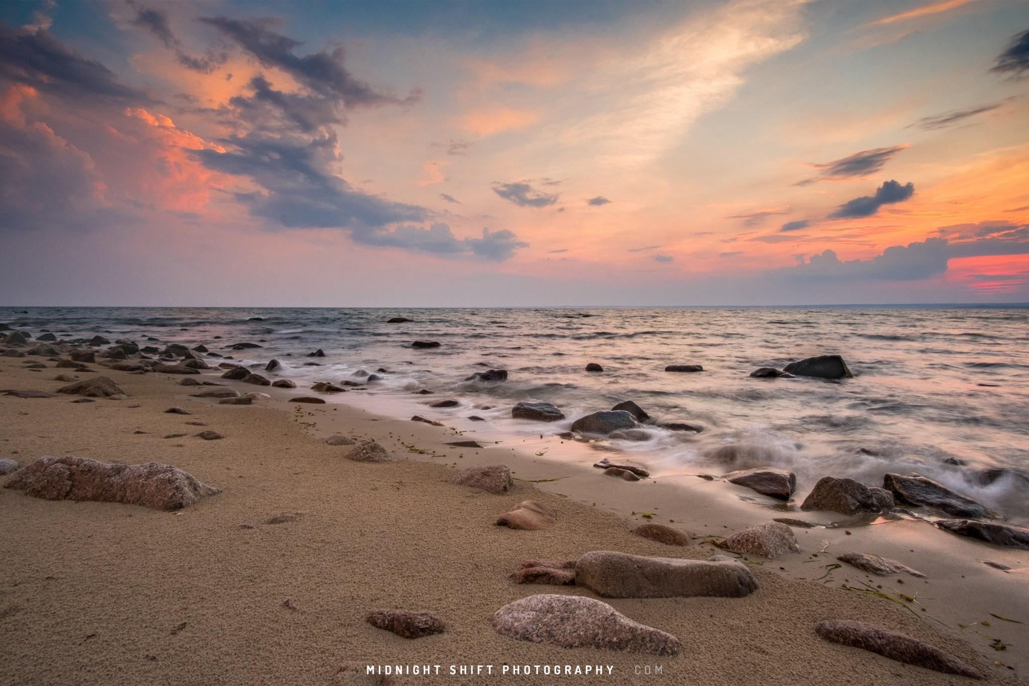 Sunset at Gooseberry Island in Westport, Massahusetts