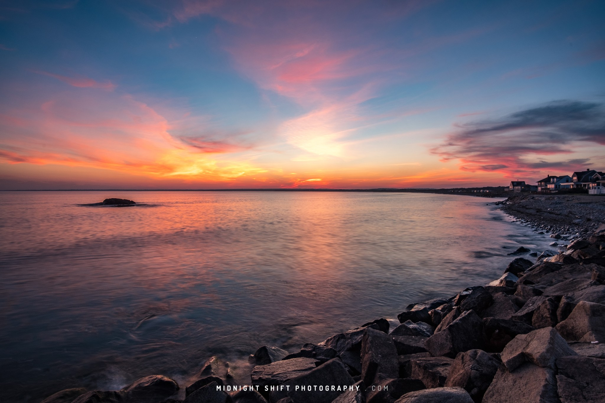 Sunset at Gooseberry Island in Westport, Massachusetts
