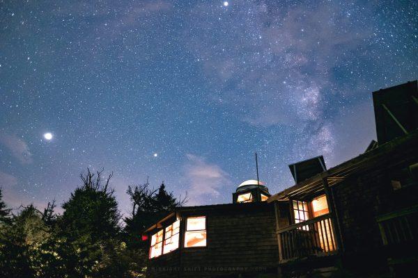 Stars shine bright above the Lonesome Lake AMC hut