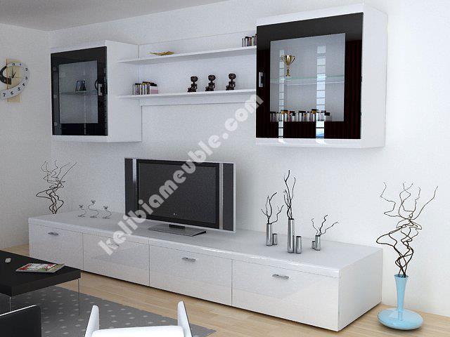 meuble tv moderne laque blanc soma