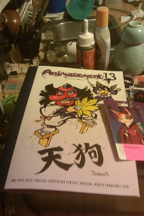Animazement 13 Convention Booklet and Badge