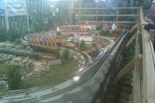A train set inside the Flower & Garden Show Demonstration.