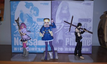 My figure collection thus far. I still can't bring myself to unwrap the Fractale figurines I won from FUNimation.