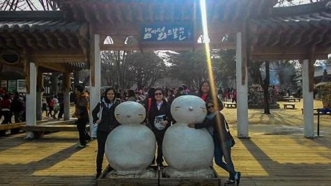 Posing with the cute dango-men