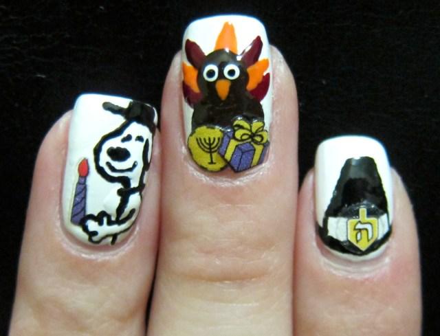 Snoopy, Turkey & Hat on Black