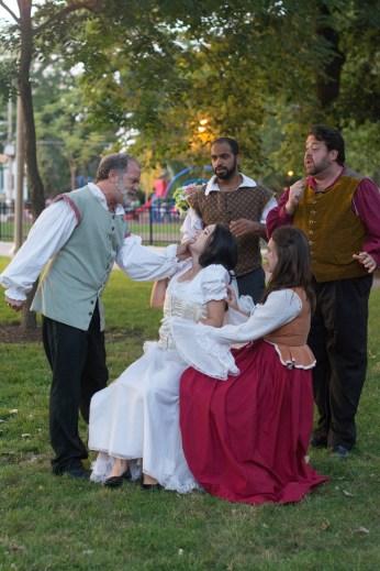 Scott Olson as Leonato, Vivian Knouse as Hero, Martel Manning as Benedick, Ashlee Edgemon as Beatrice, and J. Preddie Predmore as Antonio