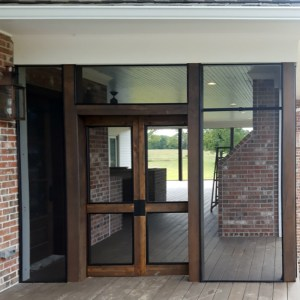 Cedar barn doors w/ screen