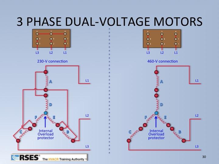 Three-Phase Dual Voltage Motor Wiring