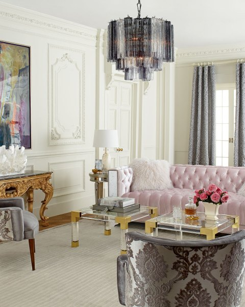 pink glam living room decor MG Decor: A Manhattan Glamour Style Living Room - Midtown Girl