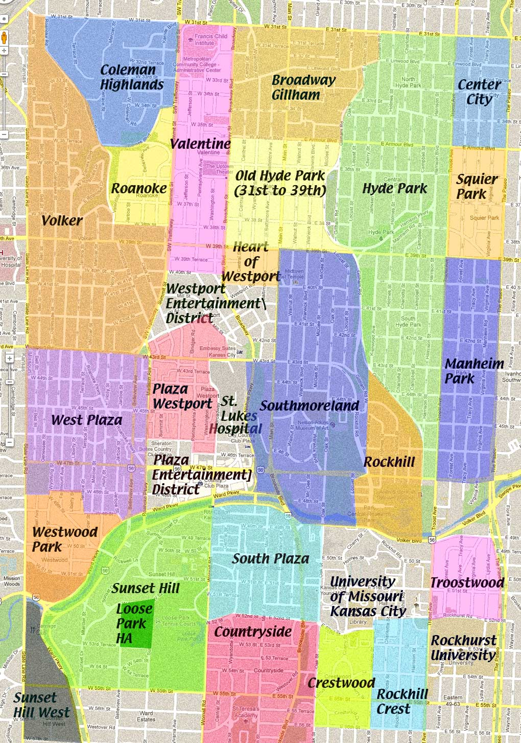 kansas city neighborhoods map Midtown Neighborhoods Map Midtown Kc Post kansas city neighborhoods map