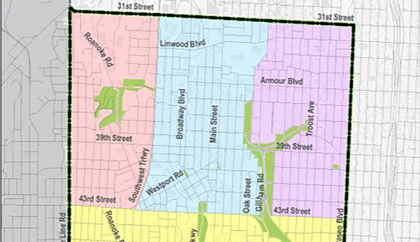 The North East sub area of the Midtown/Plaza area plan is the area in purple.