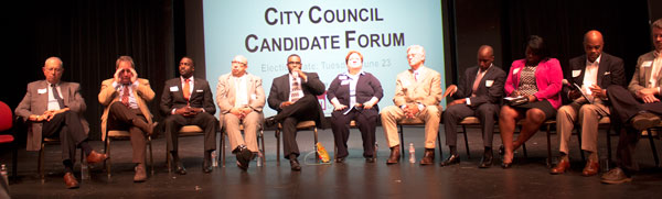 File photo. City council candidates at a recent forum.