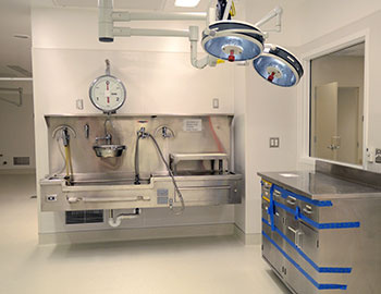 Autopsy suite at the new medical examiner's office.