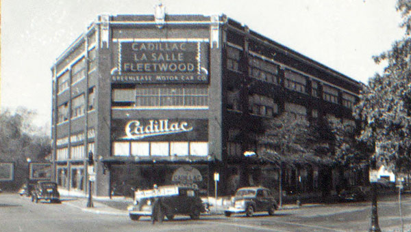 The triangular corner of 30th and Gillham and McGee Trafficway, where the Filling Station coffee shop stands today, was in the historic center of activity that revolved around the automobile. Seen here, the Greenlease Cadillac Building in 1940.