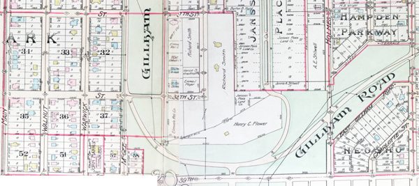 A 1907 plat map of the Flower property, which later became Notre Dame de Sion school.