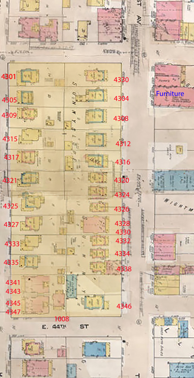 A Sanborn Fire Insurance map show these blocks from 1909-1950.