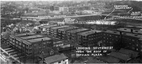 A 1926 photo of the block taken from the roof of the Sophia Plaza showing proposed street changes. In the background is the E.C. White School.
