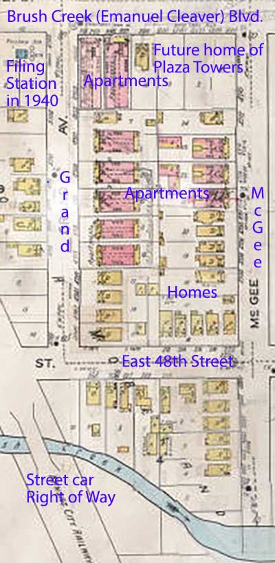 A 1917-1945 Sanburn Fire Insurance Map shows the homes and apartments on the block.