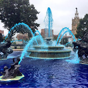 Fountains around town are blue in celebration of the Royals. Courtesy Kansas City Parks and Recreation Department.