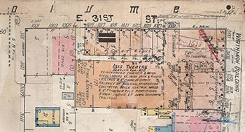 A 1909-1950 Sanborn Fire Insurance map shows the Wirthman Building, with the Isis Theater nestled in behind rows of shops that faced both Troost Avenue and 31st Street.
