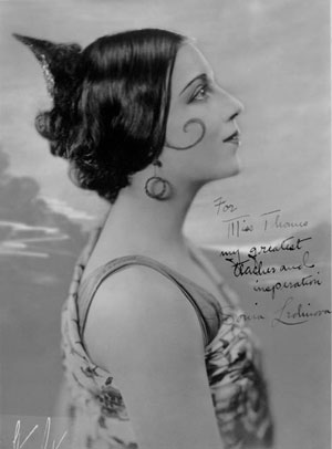 """One of Miss Thomas' best known dance students Beatrice Burk, who dancedprofessionally under the name of Sonia Ledinova. This picture that she signed for Miss Thomes reads: """"For Miss Thomes my greatest teacher and inspiration, Sonia Ledinova"""". She danced internationally with the Anna Pavlowa ballet company. She was the daughter of Mr. and Mrs. H. L. Burk, 3630 Holmes Street. Photo courtesy Kansas City Public Library/Missouri Valley Special Collections."""