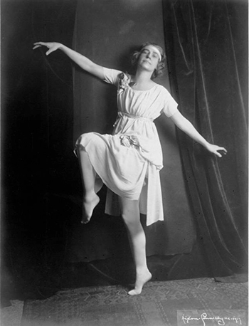 This photo is believed to be Miss Helen Thomes in dance costume. Photo courtesy Kansas City Public Library/Missouri Valley Special Collections.